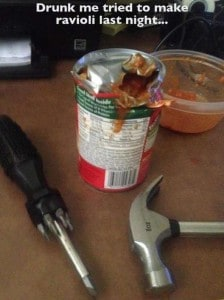 This person who forgot he has a can opener