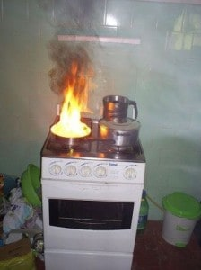 This person who took a picture of a burning stove